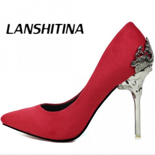Heels Women Pumps Shoes Suede leather High Heels