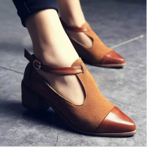 Women Pointed Toe British Style Low Heels