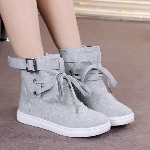 autumn winter high-top women canvas shoes