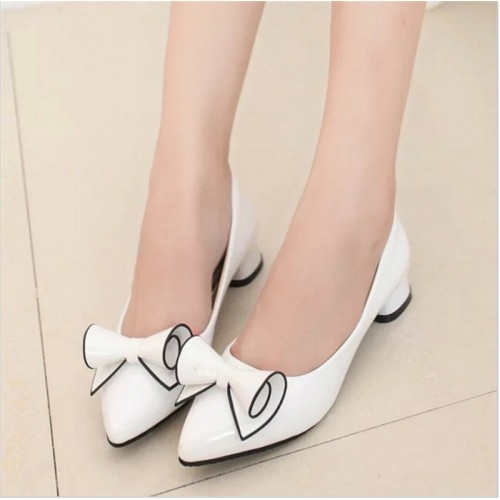 spring ladies low heel leather pointed shoes ladies high
