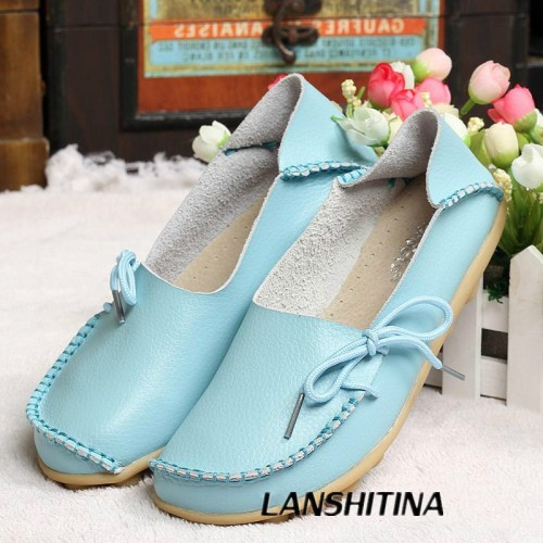 Genuine Leather Women Flats Shoe Fashion Casual Lace-up