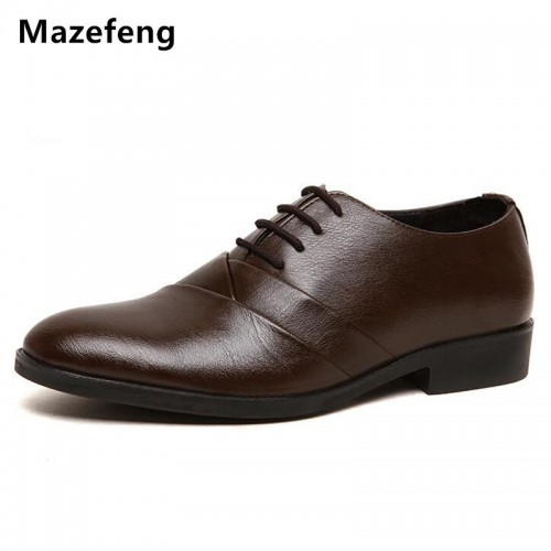 Mazefeng Men Dress Shoes Pointed Toe Business Shoes