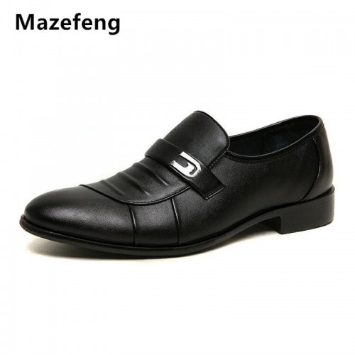 Mazefeng Men Leather Dress Shoes Round toe