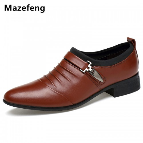 Mazefeng Spring Men Dress Shoes Pointed Toe Business