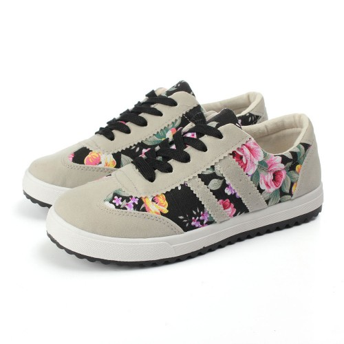 Summer Size37-39 Women Low Canvas Floral Print
