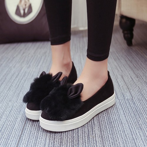 shoes platform flats 2017 New winter boots Fashion Real Fur