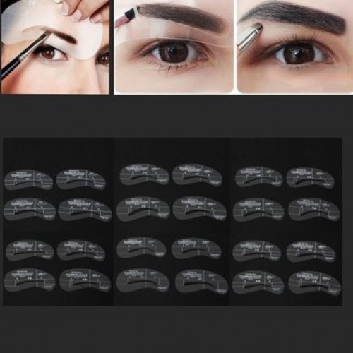 24Pcs Makeup DIY Eyebrow Stencils Shaping Model