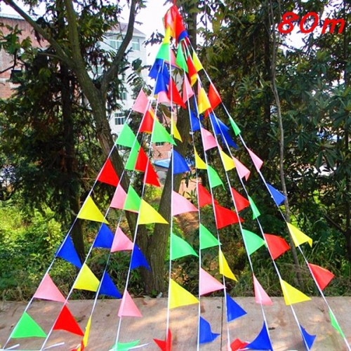 Triangle Assorted Color Pennant Flags String Banner