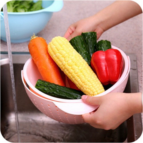 2-in-1 Vegetables Basin Wash Rice Sieve Fruit Bowl