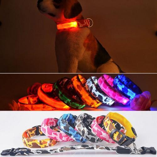 S Pet Dog LED Collar Nylon Safety Light-up