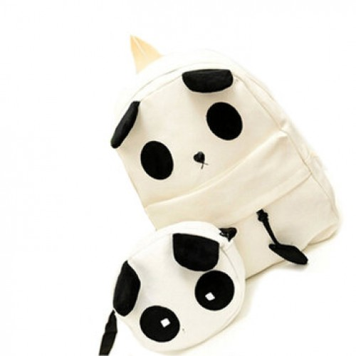 Canvas Cute Panda Pattern School Bag