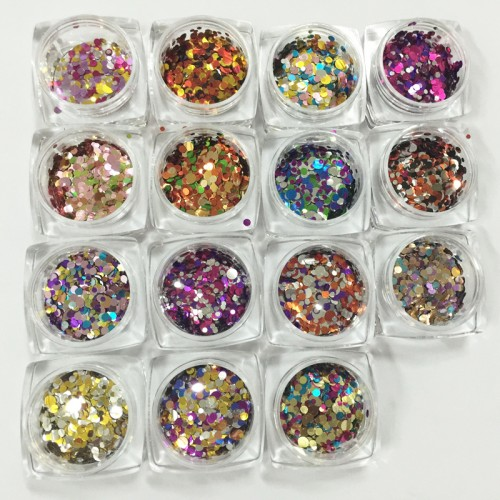 1 Pc Shiny Round Ultrathin Sequins Colorful Nail Art