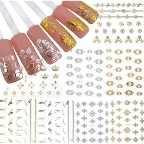 12 Sheets/Lot 3D Nail Art Gold and Silver Sticker