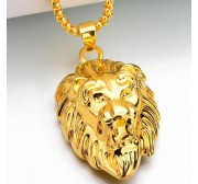 2 pieces/Set Animal Gold lion head ring necklace