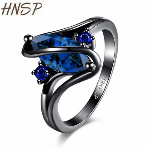 HNSP Blue Glass Crystal Blcak Ring For Women