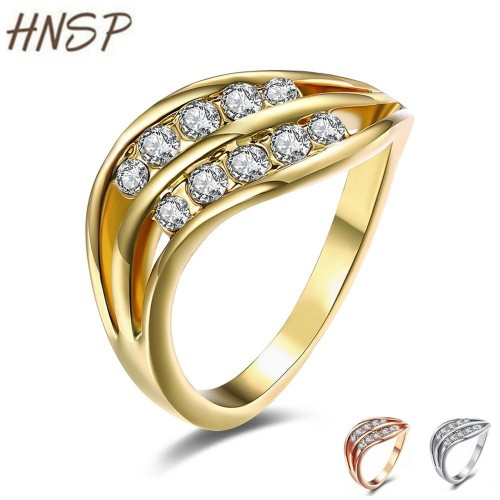 HNSP Fashion Gold silver Color CZ crystal Ring
