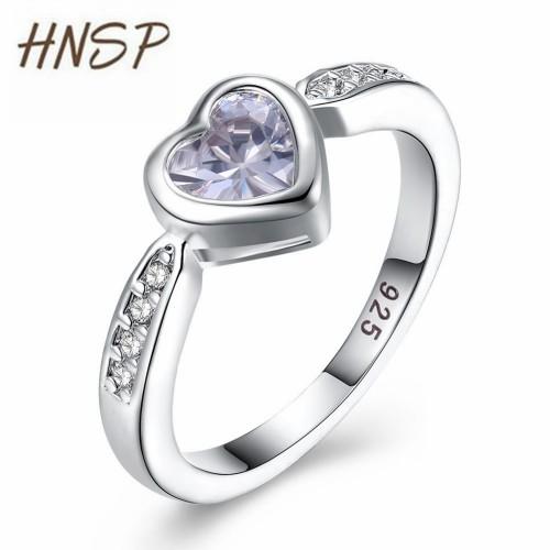 HNSP Fashion heart female ring crystal zircon Silver