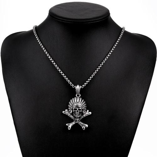 HNSP Punk 100% 316L Stainless steel Chain Skull Pendant