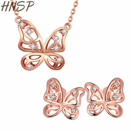 HNSP Quality Cubic Zirconia butterfly Necklace Earrings