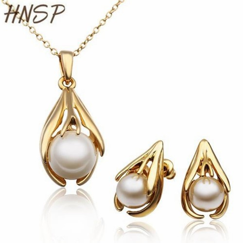 HNSP Quality Simulated pearl gold color jewelry set
