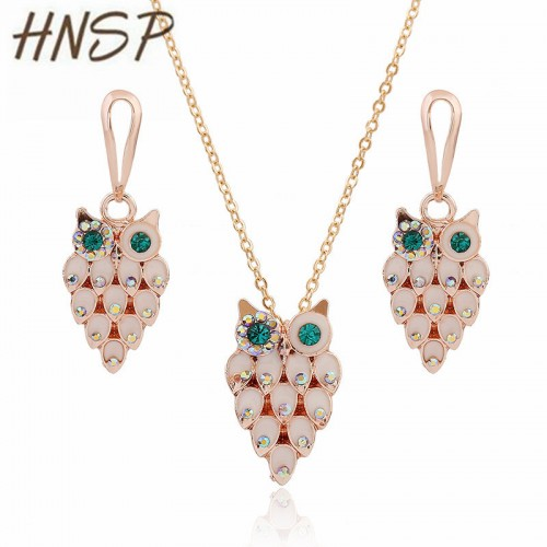 HSNP CZ crystal Green Eyes owl Animal