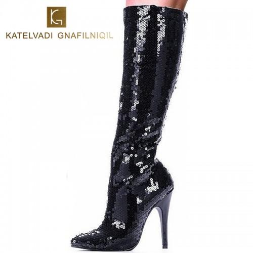 12cm high heels women boots black Glitter women
