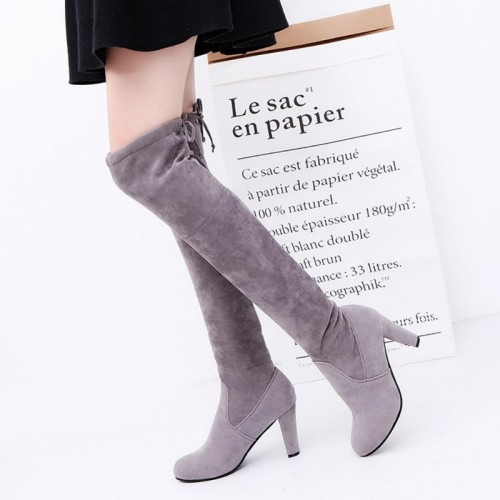 2017 Autumn Winter Women Faux Suede Thigh High Boots