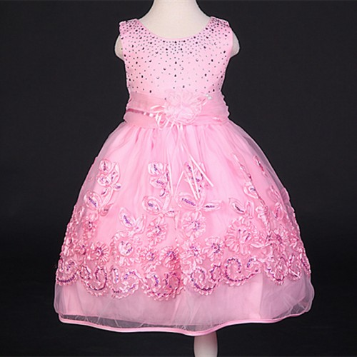 Baby Girls Dress Children Kids Crystal Layered Dresses