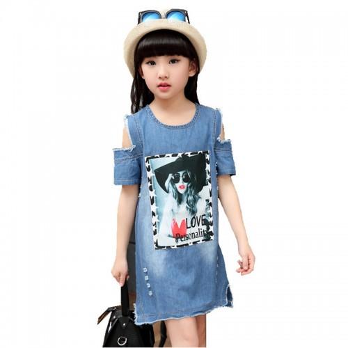 Brand Baby Girls Denim Dress Children Kids Casual Clothes