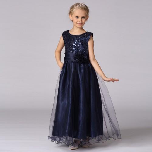 Children Girl Dress Glitter Solid color Belt flower Clothes