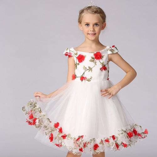 Children Girls Princess Dress Shoulderless Sleeveless