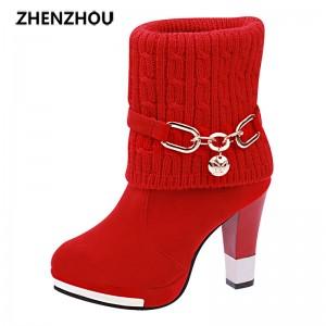 new winter warm high heel boots half boots