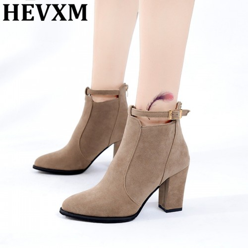 HEVXM 2017 Buckle Boots Women Spring Fashion