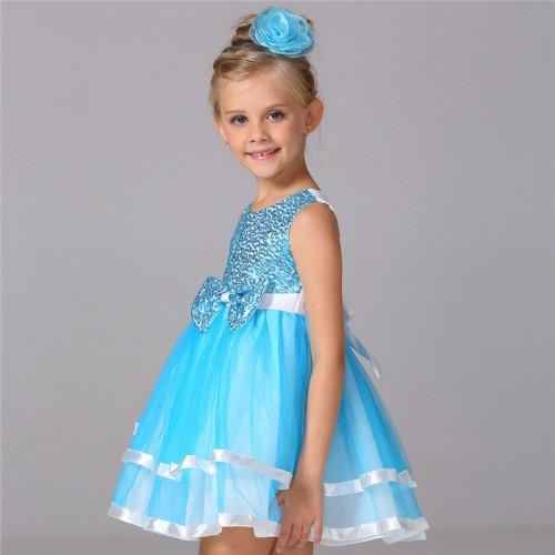 New Brand Summer Children Girls Dress Sequined Sleeveless