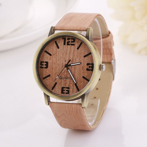 Wooden Color Leather Strap Female Wristwatch (free shipping)