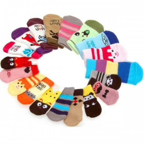 4 Pcs Indoor Pet Dog Soft Cotton Anti-slip Knit sock