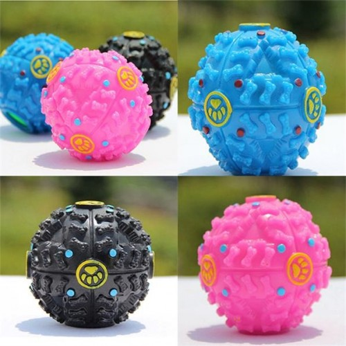 1 Pcs Pet Dog Puppy Toy Rubber Giggle Sound Chew Training Food Ball - 3 Optional Colors