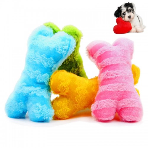1 Pcs Pet Supplies Puppy Dog Plush Chew Toys Stripe Bone Squeaky Toys - Random Color