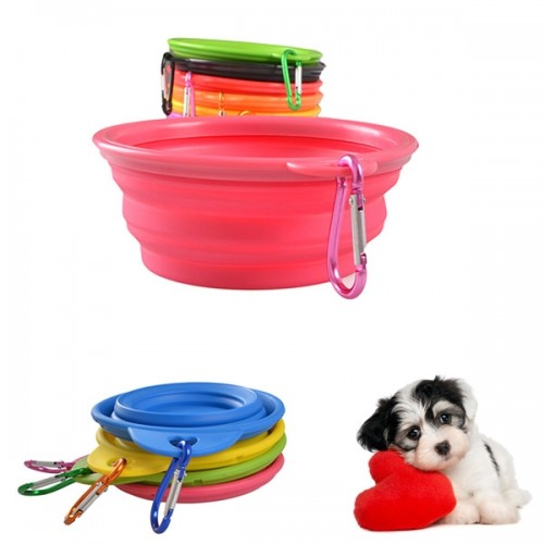 1 Pcs Portable Silicone Pet Puppy Dish Dog Feeding Bowl Collapsible Travel Bowl Water Feeder with