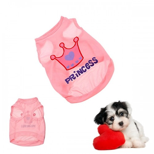 1 Pcs Cute Cotton Pet Dog Cat Vest Shirts Pink Crown Princess Sleeveless Clothes Puppy