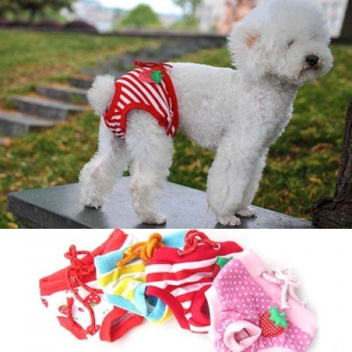 Cute Strawberry Floral Printed Dog Physiological Pants Puppy Diapers Underwear