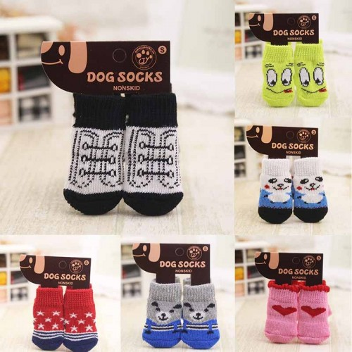 4 Pcs Lovely Non-slip Pet Colorful Knit Dogs Cats Footwear