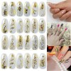 1 Sheet Embossed 3D Nail Stickers Blooming Flowe